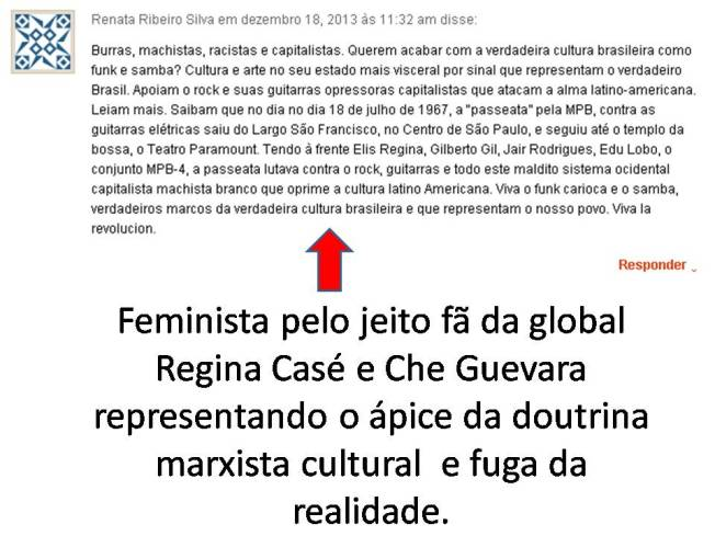 Feminista pelo jeito fã da global Regina Casé